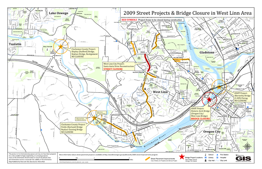 2009 Public Works Project Map and Details City of West Linn